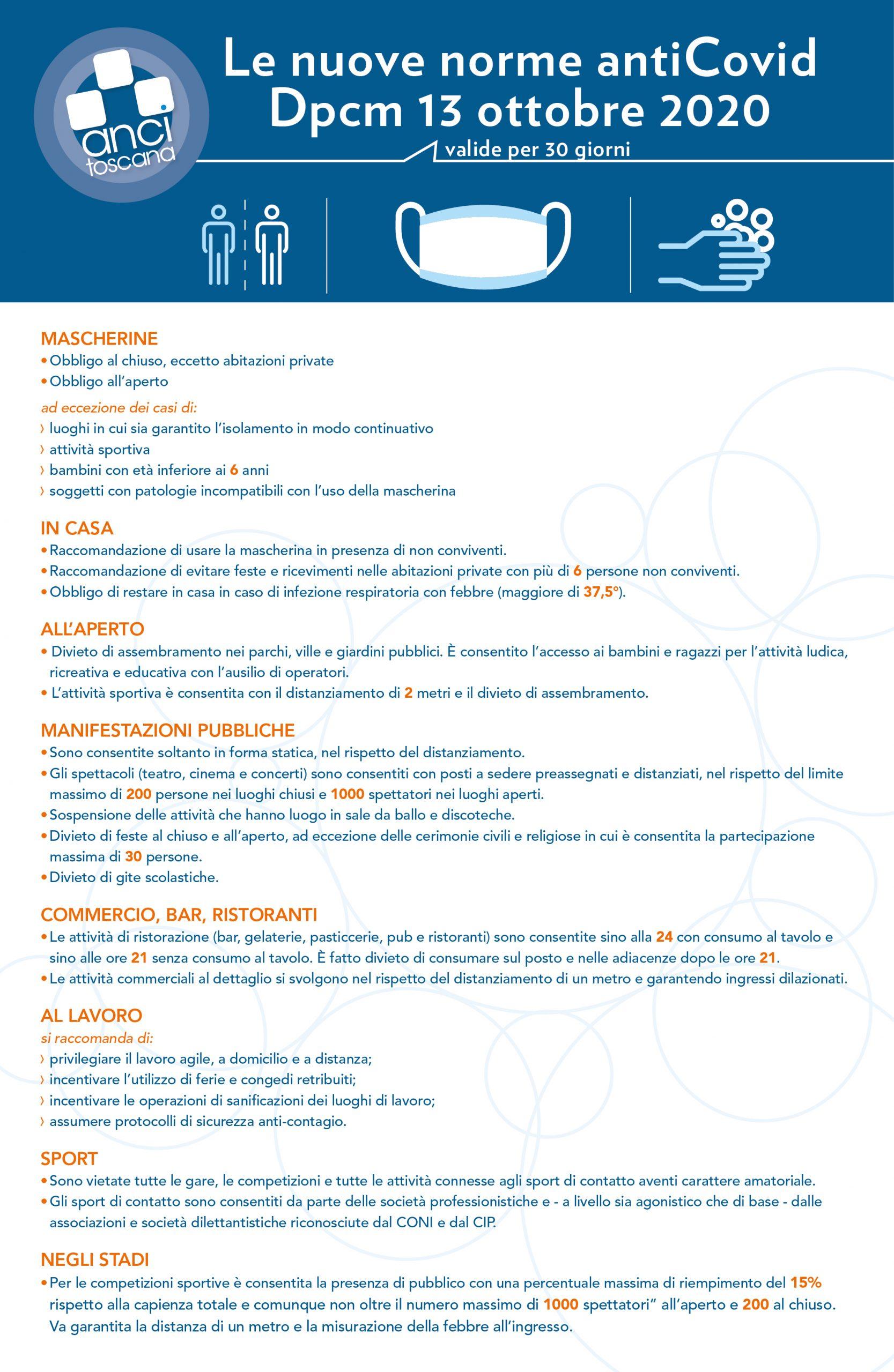 Principali disposizioni del DPCM 13 ottobre 2020